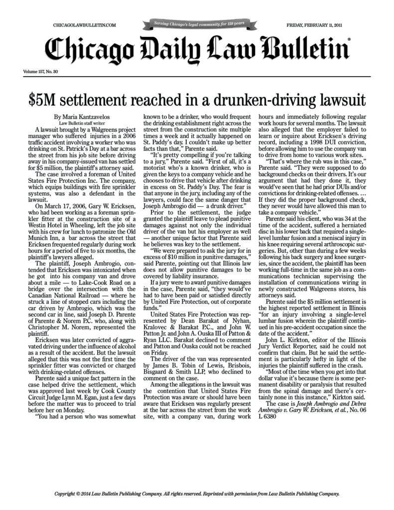 5m Settlement Reached In A Drunken Driving Lawsuit Law