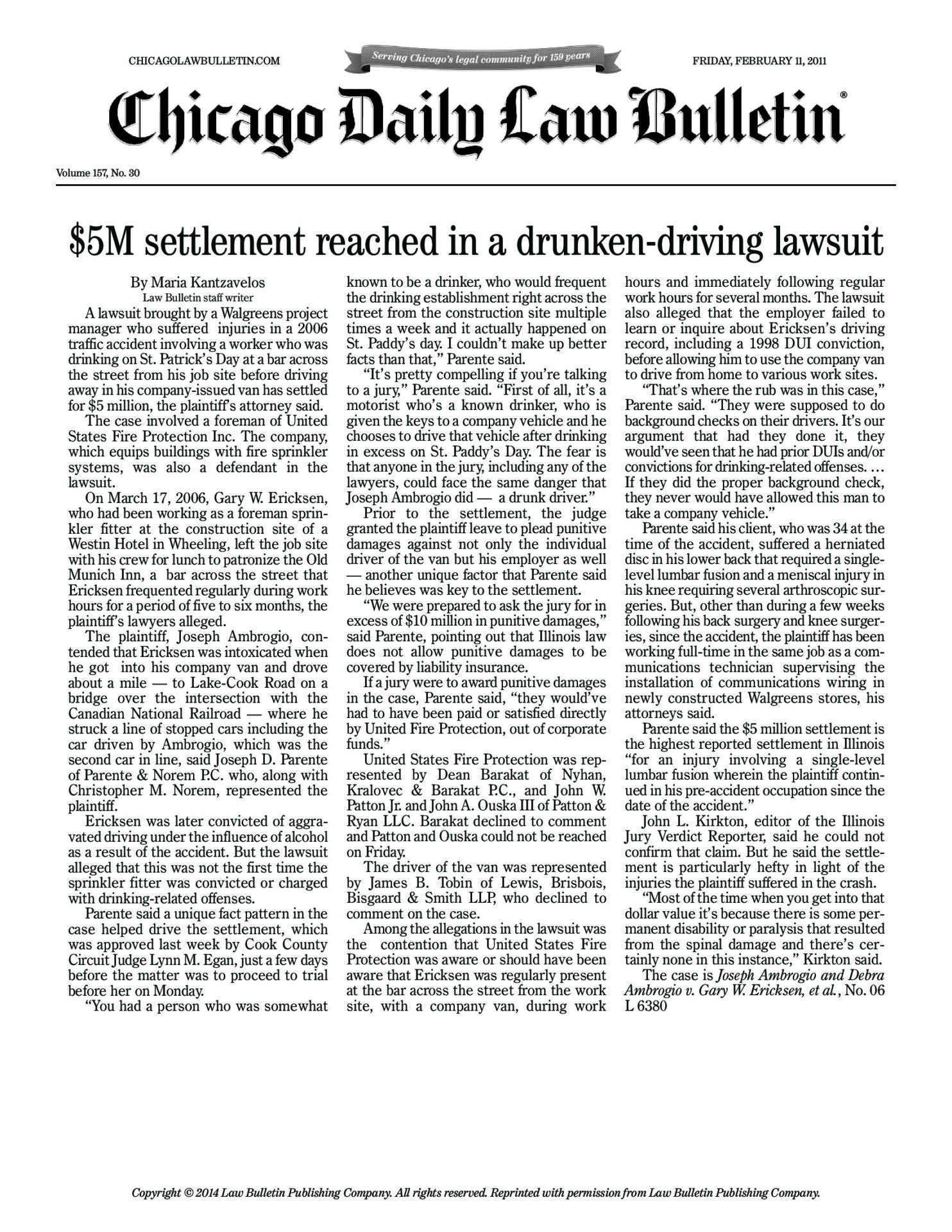 $5M settlement reached in a drunken-driving lawsuit - Law Offices of