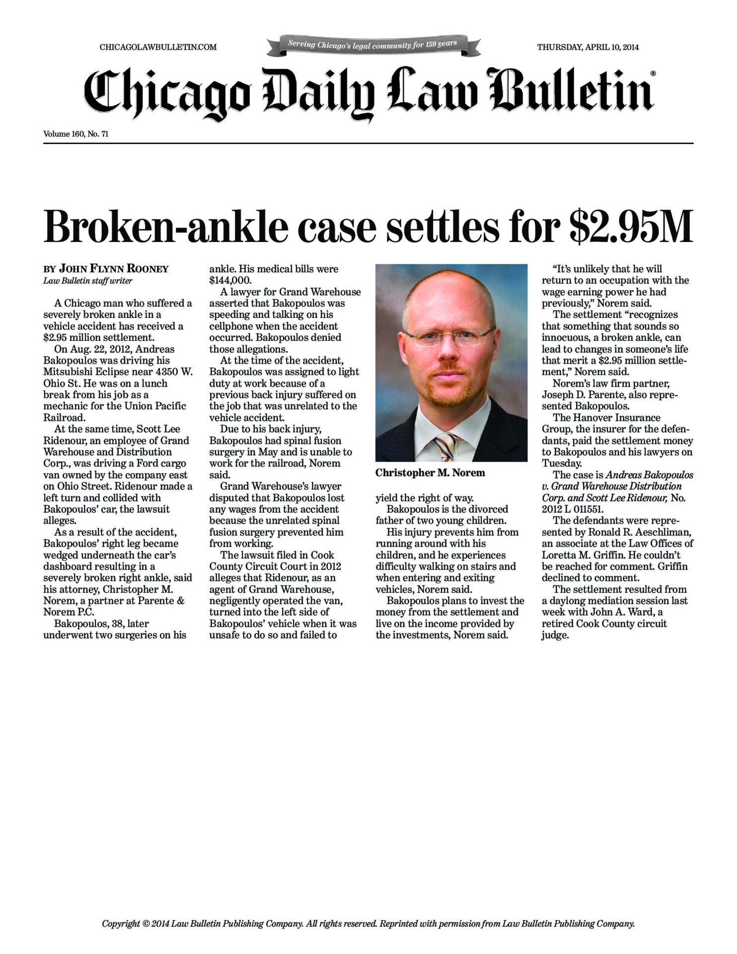 Broken-ankle case settles for $2 95M - Law Offices of