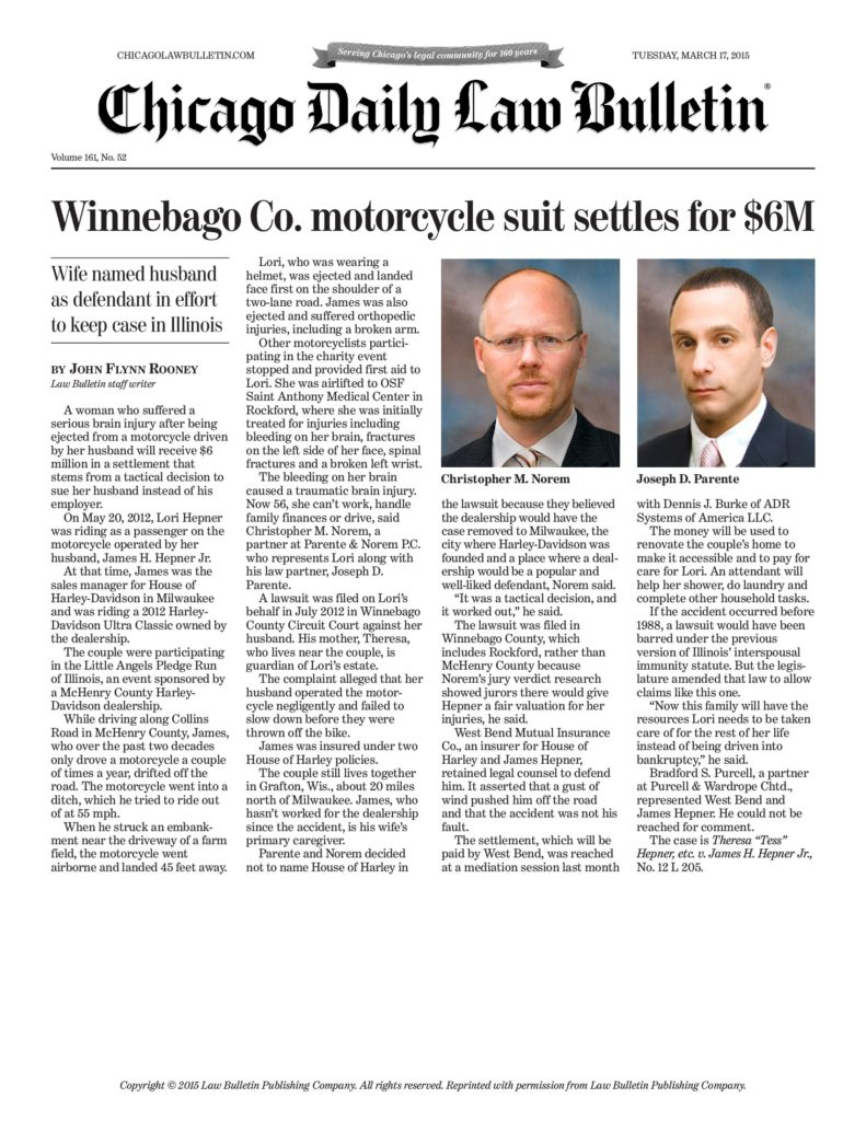 Winnebago Co Motorcycle Suit Settles For 6m Law