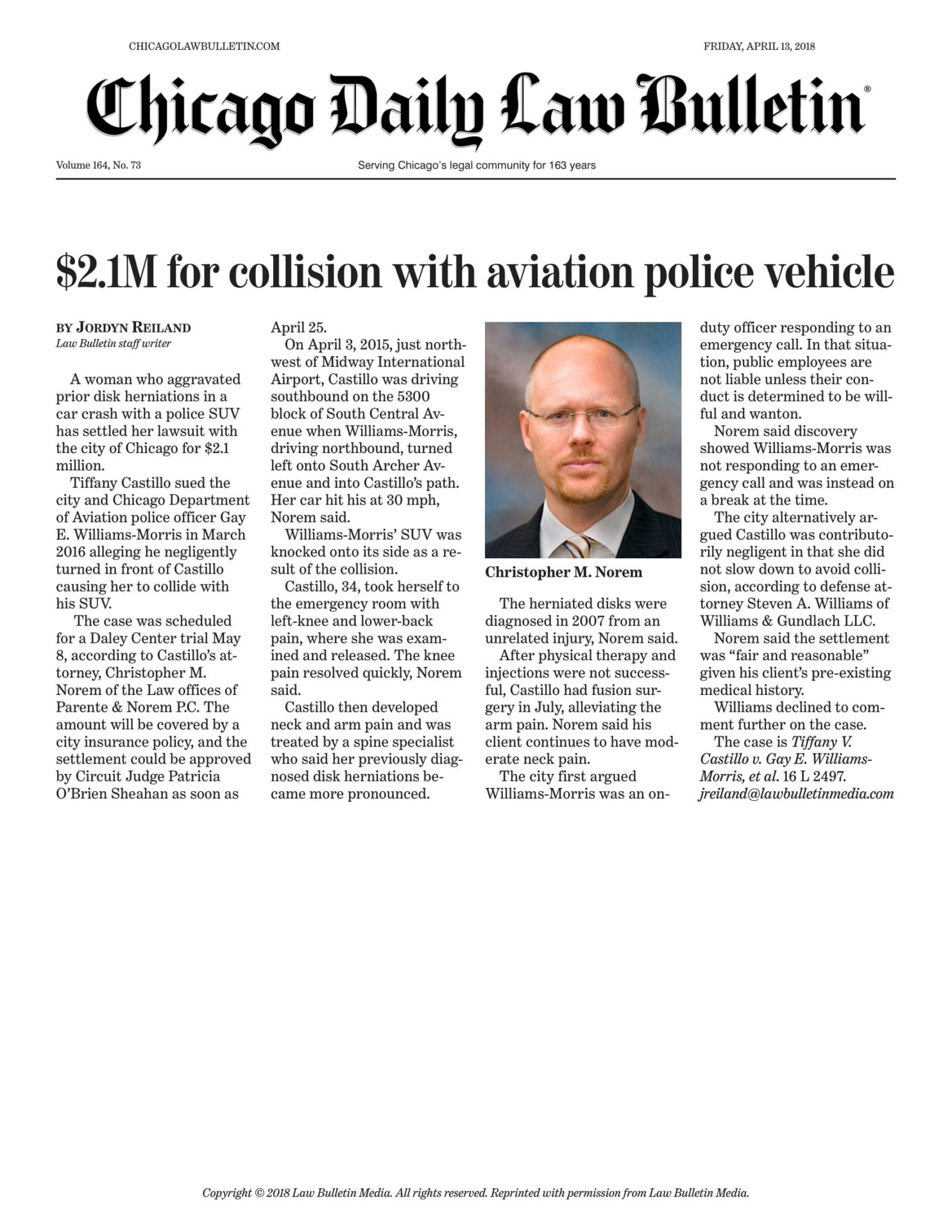 $2.1M for collision with aviation police vehicle
